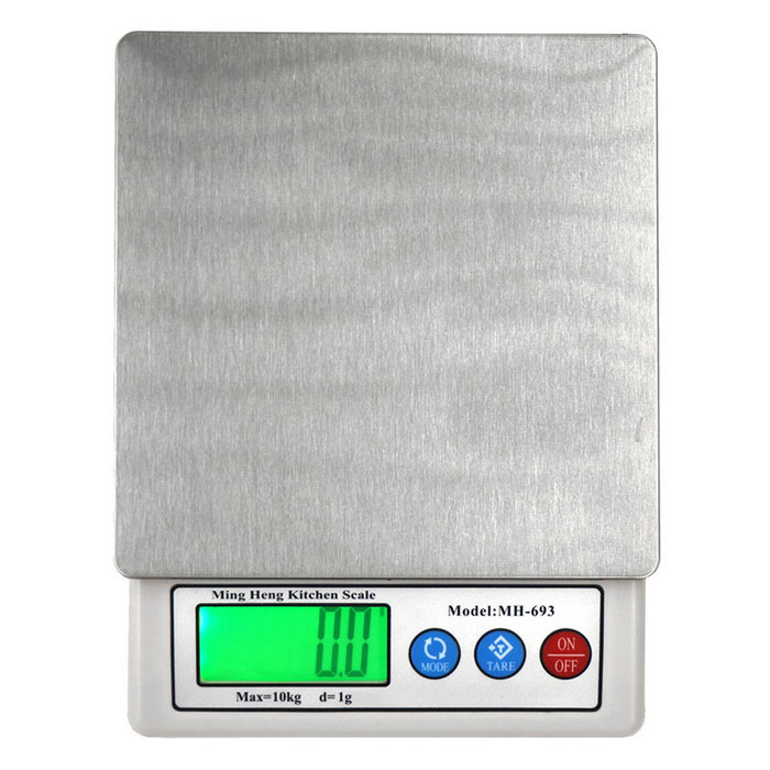 MH-693 10kg/1g 2.2 High-quality Kitchen Scale - White + SilverDigital Scales<br>Form  ColorWhite + SilverModelMH-693Quantity1 DX.PCM.Model.AttributeModel.UnitMaterialStainless steel + ABS plasticTypeKitchen ScaleScreen Size2.2 inchesMax. Weight10kgMin. Weight1gUnitg,kg,ct,lb,ozDivision1gAuto Power OffNoPowered ByAA BatteryBattery Number2Battery included or notNoPacking List1 * Electronic scale1 * Instructions in English / Chinese<br>