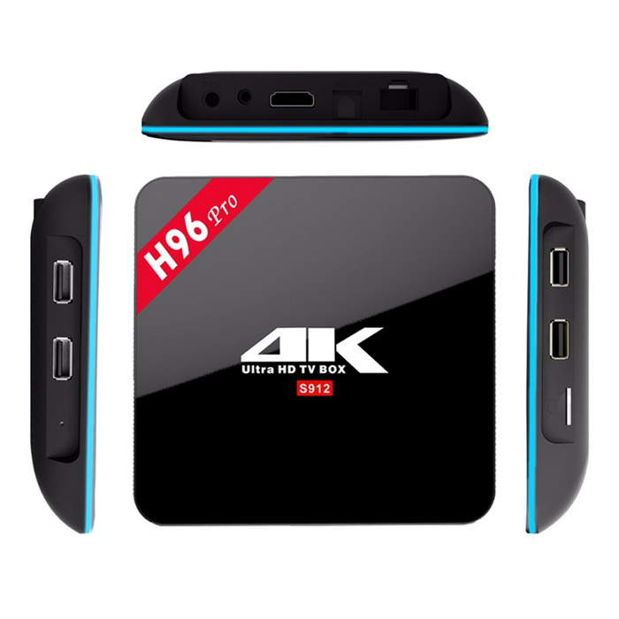 H96 PRO Amlogic S912 Octa-Core TV Box w/ 2GB DDR3, 16GB ROM (EU Plug)Smart TV Players<br>Form  ColorBlackBuilt-in Memory / RAM2GBStorage16GBPower AdapterEU PlugModelH96 PROQuantity1 DX.PCM.Model.AttributeModel.UnitMaterialABSShade Of ColorBlackOperating SystemAndroid 6.0ChipsetAmlogic S912CPUOthers,Cortex-A53Processor Frequency2.0GPUARM Mali-T820MP3Menu LanguageEnglish,French,German,Italian,Spanish,Portuguese,Russian,Dutch,Arabic,Japanese,Thai,Greek,Chinese Simplified,Chinese TraditionalMax Extended Capacity32GBSupports Card TypeMicroSD (TF)Wi-Fi802.11 a/b/g/nBluetooth VersionBluetooth V4.03G FunctionNoWireless Keyboard/Mouse2.4GAudio FormatsMP3,WMA,FLAC,OGG,AC3,DTSVideo FormatsRM,AVI,MKV,MOV,MP4,MPEG1,MPEG4,WMVAudio CodecsDTS,AC3,FLAC,HE-AACVideo CodecsH.264,H.265Picture FormatsJPEG,BMP,GIFSubtitle FormatsSub Station Alpha [.ssa]Output Resolution1080PHDMIHDMI 2.0 up to 4K2K@60FPSUSBUSB 2.0Power Supply5V 2APacking List1 * H96 PRO TV Box1 * Remote Control1 * HDMI Cable(100+/-2cm)1 * EU Power Adapter1 * English Manual<br>