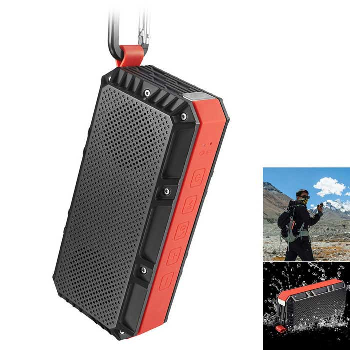 OldShark Portable Outdoor Bluetooth 4.0 Wireless Speaker - Black + RedBluetooth Speakers<br>Form  ColorBlack + Red + Multi-ColoredMaterialPlastic + MetalQuantity1 DX.PCM.Model.AttributeModel.UnitShade Of ColorBlackBluetooth HandsfreeYesBluetooth VersionBluetooth V4.0Operating Rangeabout 33 feetTotal Power10 DX.PCM.Model.AttributeModel.UnitChannels2.0Interface3.5mmMicrophoneYesSNR70dbSensitivity80dbFrequency Response100Hz~16KHzImpedance4 DX.PCM.Model.AttributeModel.UnitApplicable ProductsUniversal,Cellphone,Tablet PCSupports Card TypeMicroSD (TF)Max Extended Capacity32GBuilt-in Battery Capacity 2200 DX.PCM.Model.AttributeModel.UnitBattery TypeLi-ion batteryTalk Time3-5 DX.PCM.Model.AttributeModel.UnitStandby Time720 DX.PCM.Model.AttributeModel.UnitMusic Play Time5-6HPower AdapterUSBPower Supply5V 500mAOther FeaturesSpecification:<br>Driver speec40mm 4/4W<br>SizeL149.5*W48.5*H70.5 mm<br>Net weight273g<br>RMS5W x 2<br>Frequency response100HZ - 16KHZ<br>Sensitivity80db<br>S/N ratio70db<br>Distortion0.1% @1W<br>Working distanceabout 33 feet<br>Transmission PowerClass2 Class2, 4dbm<br>Bluetooth profilesA2DP,AVRCP,HFP<br>Frequency range2.4002.480GHz<br>Working current600mA<br>Working voltage3.7V<br>Charging voltageDC 5V<br>Charging current500MAPacking List1 * Bluetooth Speaker1 * Portable Hook1 *  3.5mm Audio Cable70cm1 * Charging Cable80cm1 * English user manual<br>