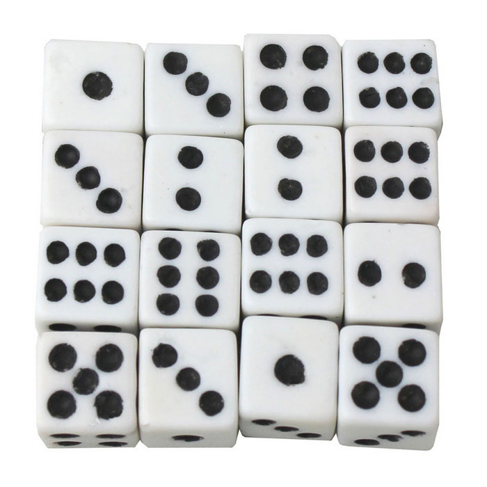 8mm White Background Black Spots Dice (16PCS) for sale in Bitcoin, Litecoin, Ethereum, Bitcoin Cash with the best price and Free Shipping on Gipsybee.com