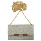 Glitter Wallet Style Long Chain Messenger Backpack - Silver