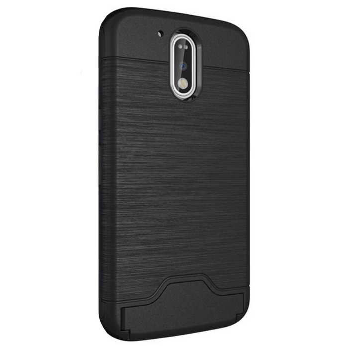 Shock-proof Back Case w/ Holder and Slot for MOTO G4/ G4 Plus - BlackSilicone Case<br>Form  ColorBlackModelN/AMaterialPlastic + soft shellQuantity1 DX.PCM.Model.AttributeModel.UnitShade Of ColorBlackCompatible ModelsMOTO G4/ G4 PlusFeaturesShock-proof,Easy-to-remove,Holder functionPacking List1 * Back Case<br>