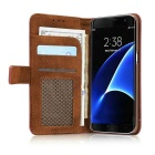 PC + PU Flip Wallet Cover Case for Samsung Galaxy Note 7 - Brick Red
