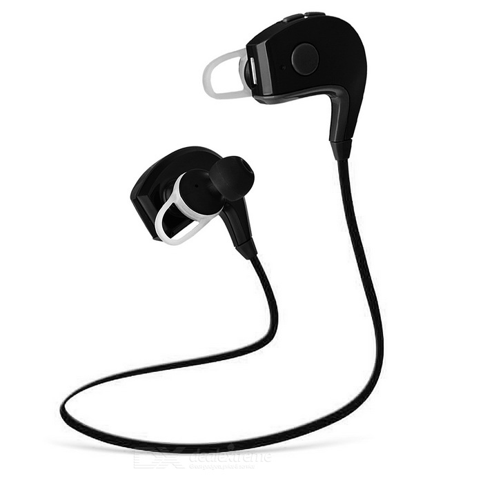 Wireless Stereo In-ear Bluetooth V4.1 Sports Earphone w/ Mic. - BlackHeadphones<br>Form  ColorBlackMaterialABSQuantity1 DX.PCM.Model.AttributeModel.UnitShade Of ColorBlackEar CouplingIn-EarBluetooth VersionBluetooth V4.1,??4.1Operating Range10MRadio TunerNoMicrophoneYesSupports MusicYesApplicable ProductsUniversalBuilt-in Battery Capacity 200 DX.PCM.Model.AttributeModel.UnitBattery TypeLi-polymer batteryTalk Time7 DX.PCM.Model.AttributeModel.UnitMusic Play Time15 DX.PCM.Model.AttributeModel.UnitStandby Time300 DX.PCM.Model.AttributeModel.UnitPower AdapterUSBBrandOthers,N/AConnectionBluetoothHeadphone StyleBilateral,In-Ear,BluetoothWaterproof LevelIPX0 (Not Protected)Headphone FeaturesPhone Control,Volume Control,With Microphone,Portable,For Sports &amp; ExerciseSupport Memory CardNoSupport Apt-XNoPacking List1 * Earphone4 * Ear caps1 * Cable tie1 * USB charging cable (30+/-2cm)2 * Earhook accessories<br>