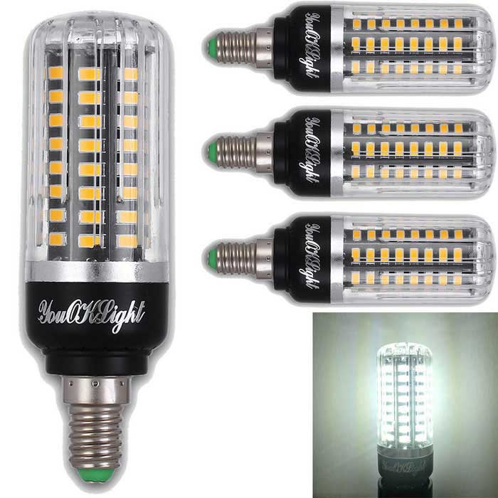 YouOKLight E12 7W 72-LED Cold White Corn Bulb AC 85-265V 4 PCS