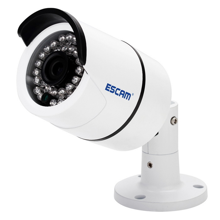 ESCAM  QD410 H.265 1/3 CMOS 4.0MP 3.6mm P2P Waterproof IP CameraIP Cameras<br>Form  ColorWhitePower AdapterAU PlugModelQD410MaterialAluminum alloyQuantity1 DX.PCM.Model.AttributeModel.UnitImage SensorCMOSImage Sensor SizeOthers,1/3Pixels4MPLens3.6mmViewing Angle90~120 DX.PCM.Model.AttributeModel.UnitVideo Compressed FormatH.265/H.264Picture Resolution2592*1520Frame Rate25Minimum Illumination0.01 DX.PCM.Model.AttributeModel.UnitNight VisionYesIR-LED Quantity36Night Vision Distance15 DX.PCM.Model.AttributeModel.UnitWireless / WiFiNoNetwork ProtocolTCP,IP,UDP,HTTP,SMTP,FTP,DHCP,NTP,DDNS,uPnP,PPPoE,Others,RTP, RTSP, RTCP, DNSSupported SystemsWindows 2000,2003,XPSupported BrowserIE 6.0 and above,Google Chrome,FirefoxSIM Card SlotNoOnline Visitor10IP ModeStaticMobile Phone PlatformAndroid,iOSSmart AlarmMotion detectingFree DDNSYesIR-CUTYesBuilt-in Memory / RAMNoSupported LanguagesEnglish,Simplified Chinese,Traditional Chinese,Russian,Spanish,Italian,FrenchWater-proofIP66Rate Voltage12VRated Current1 DX.PCM.Model.AttributeModel.UnitIntercom FunctionNoCertificationCE FCC RoHSPacking List1 * IP camera 1 * English manual 1 * Pack of screws 1 * Tail cable (46cm)1 * Rain hat<br>
