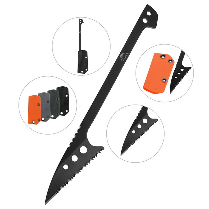 FURA Stainless Steel Survival Scaling Knife with Tooth Edge - Black
