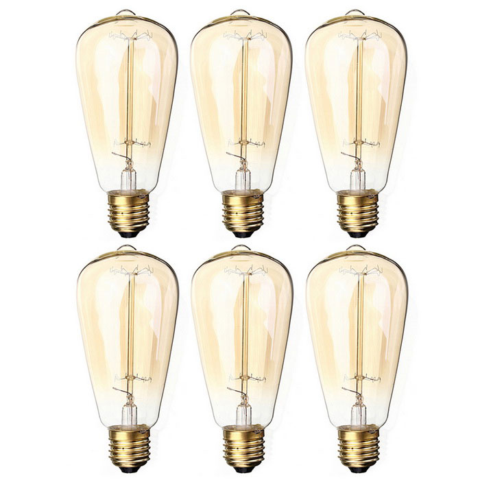 ST64 E26 40W Warm White Vintage Dimmable Tungsten Filament Bulb (6PCS)Color BINWarm whiteModelN/AMaterialGlassForm  ColorTranslucent + GoldenQuantity6 DX.PCM.Model.AttributeModel.UnitPowerOthers,40WRated VoltageAC 220 DX.PCM.Model.AttributeModel.UnitConnector TypeOthers,E26Emitter TypeOthers,Tungsten filamentTotal Emitters0Actual Lumens230 DX.PCM.Model.AttributeModel.UnitColor Temperature12000K,Others,2200KDimmableYesBeam Angle360 DX.PCM.Model.AttributeModel.UnitPacking List6 * Bulbs<br>