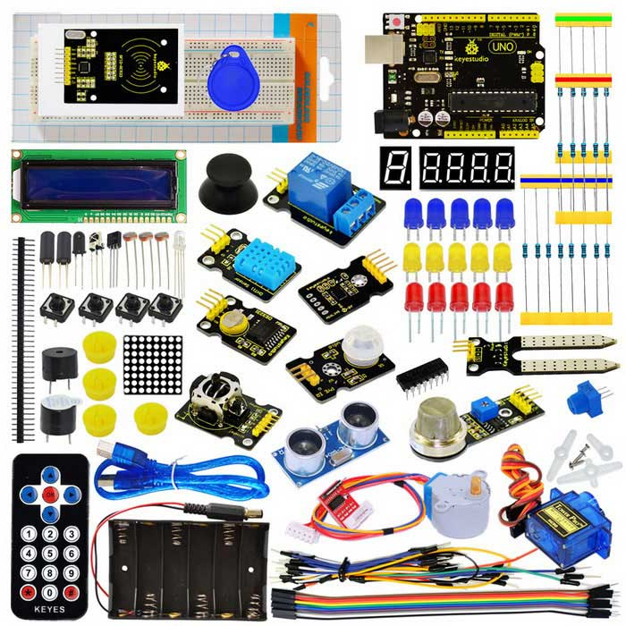 Keyestudio New UNO R3 Super Starter Kit Rfid Learning Kit for ArduinoKits<br>Form ColorBlack + YellowModelKS0078Quantity1 DX.PCM.Model.AttributeModel.UnitMaterialFR4English Manual / SpecNoDownload Link   http://www.keyestudio.cc/h-nd-103-0_380_3.htmlOther FeaturesThis kit includes a UNO R3 board.<br>This kit includes 32 projects with detailed tutorials.<br>There is connection diagram and code for each project in PDF, making it easy for you to learn.Packing List5 * LED - Blue5 * LED - Red5 * LED - Yellow1 * LED - RGB8 * 220  resistor5 * 10K  resistor5 * 1K  resistor1 * 10K  Pot1 * Buzzer (active)1 * Buzzer (passive)4 * Large button switch2 * Ball tilt sensor3 * Photo Resistor1 * Flame sensor1 * 1x LM35 Temp Sensor1 * IC 74HC595N 16-pin DIP1 * 7-seg LED 1x module1 * 7-seg LED 4x module1 * 8*8 LED Matrix1 * 2x16 LCD display1 * IR receiver1 * IR remote control1 * Servo Motor1 * Stepper driver module1 * Stepper Motor1 * Joystick module1 * Relay module1 * PIR Motion Sensor1 * Analog Gas Sensor1 * ADXL345 Three Axis Acceleration Module1 * HC-SR04 Ultrasonic Sensor1 * DS3231 Clock Module1 * DHT11 Temperature and Humidity Sensor1 * Soil humidity sensor1 * rc522 RFID module1 * RFID card1 * RFID key40 * Pin headers1 * 830-hole Breadboard10 * Dupont connector wires30 * Jumper Wire1 * 6-cell AA Battery pack1 * USB cable<br>