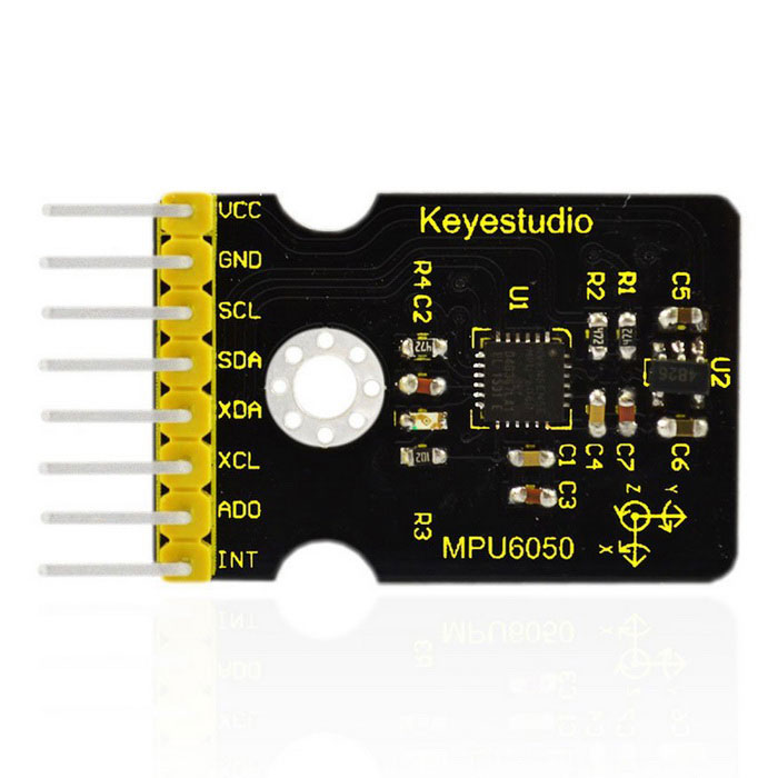 Keyestudio MPU6050 Gyroscope and Accelerometer Module for ArduinoSensors<br>Form  ColorBlack + YellowModelMPU6050Quantity1 setMaterialFR4ApplicationArduino ExperimentWorking Voltage   3-5 VDownload Link   N/AOther Features1.With its dedicated I2C sensor bus, it directly accepts inputs from an external 3-axis compass to  provide a complete 9-axis output.<br>2.The MPU-6050 is also designed to interface with multiple non- inertial digital sensors, such as pressure sensors.<br>3.The MPU-6050 features three 16-bit analog-to-digital converters (ADCs) for digitizing the  gyroscope outputs and three 16-bit ADCs for digitizing the accelerometer outputs.<br>4.Communication method: standard IIC protocol.<br>5.Gyroscope range: ±250 500 1000 2000°/sec.Packing List1 * MPU6050 module<br>