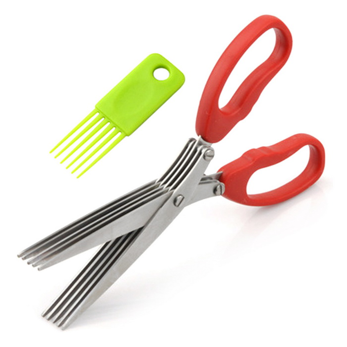 Creative Convenient Kitchen Tool Small Scissors - Red + SilverForm  ColorRed + SilverModelN/AMaterialPVC+ Stainless steelQuantity1 DX.PCM.Model.AttributeModel.UnitPacking List1 * Kitchen Tool1 * Clean fork<br>