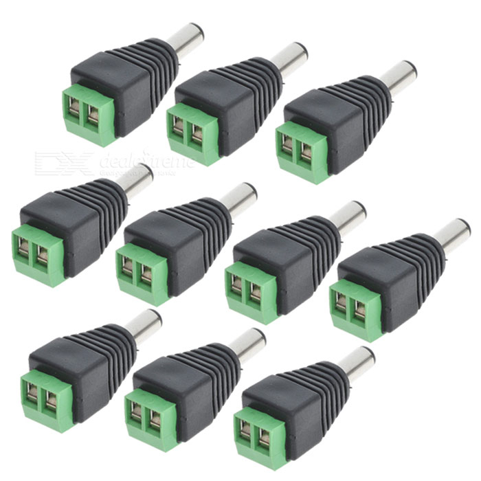 5.5*2.1mm CCTV to Female DC Power Sockets - Black + Green (10PCS)