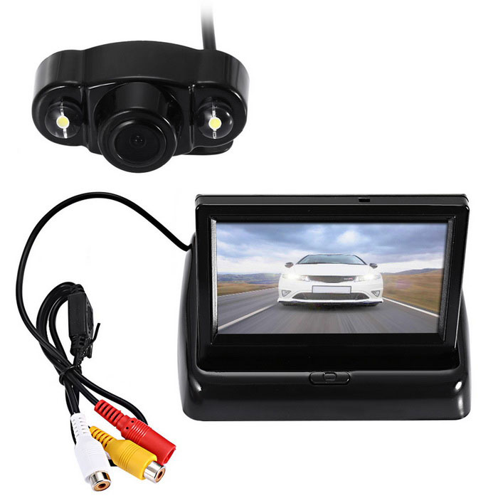 "Car Rear View 2 LED Camera + 4.3"" Ultrathin Foldable Display - Black"