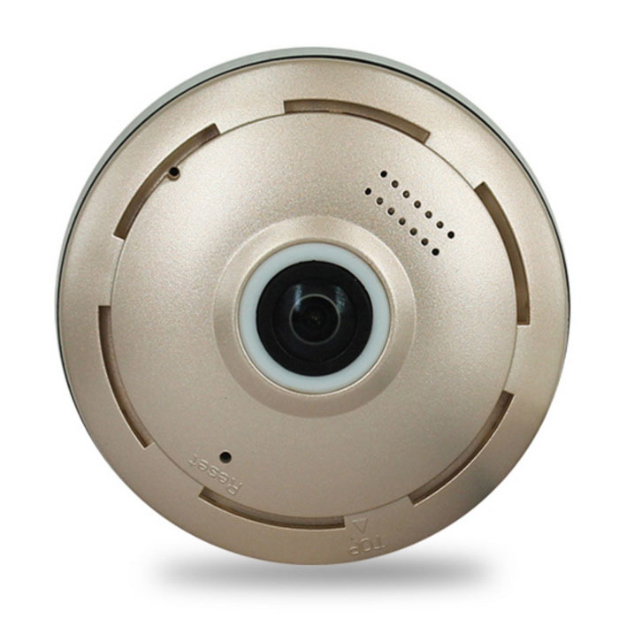 Cylindric Network HD 360 Fisheye P2P Wi-Fi IP Camera - Gold (EU Plug)IP Cameras<br>Form  ColorGolden + BlackPower AdapterEU PlugModelST-3D13360CHYIRWMaterialPVCQuantity1 DX.PCM.Model.AttributeModel.UnitImage SensorCMOSImage Sensor SizeOthers,1/3Pixels1280 * 960LensOthers,1.44mmViewing AngleOthers,360 DX.PCM.Model.AttributeModel.UnitVideo Compressed FormatH.264Picture Resolution960PFrame Rate25Input/Output1CHAudio Compression FormatAACMinimum Illumination0.1 DX.PCM.Model.AttributeModel.UnitNight VisionYesIR-LED Quantity3Night Vision Distance10 DX.PCM.Model.AttributeModel.UnitWireless / WiFi802.11 b / g / nNetwork ProtocolTCP,IP,UDP,SMTP,FTP,DHCP,NTP,uPnPSupported SystemsOthers,-Supported BrowserOthers,-SIM Card SlotNoOnline Visitor3IP ModeDynamicMobile Phone PlatformAndroid,iOSPTZ memoryFreeFree DDNSYesIR-CUTYesBuilt-in Memory / RAMNoLocal MemoryYesMemory CardMicro SD/TF cardMax. Memory Supported128GBMotorNoRotation Angle360Zoom3Supported LanguagesEnglish,Simplified Chinese,PortugueseWater-proofNoRate VoltageDC 5VRated Current1 DX.PCM.Model.AttributeModel.UnitIntercom FunctionYesPacking List1 * Camera1 * Power supply (EU plug)1 * 1m power line1 * English user manual4 * Screws1 * Reset needle<br>