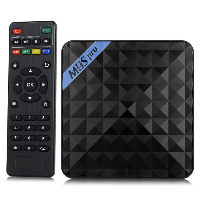 BLCR M9S Pro 4K Wi-Fi Android5.1 Smart TV Player w/ 2GB RAM, 16GB ROMSmart TV Players<br>Form  ColorBlackBuilt-in Memory / RAM2GBStorage16GBPower AdapterEU PlugModelM9S ProQuantity1 DX.PCM.Model.AttributeModel.UnitMaterialPlasticShade Of ColorBlackOperating SystemAndroid 5.1ChipsetAmlogic S905CPUOthers,Cortex-A53Processor FrequencyUp to 2GHzGPUPenta-core ARM Mali-450Menu LanguageEnglish,French,German,Italian,Spanish,Portuguese,Russian,Polish,Greek,Danish,Norwegian,Dutch,Arabic,Turkish,Japanese,KoreanRAM/Memory TypeDDR3 SDRAMMax Extended Capacity32GBSupports Card TypeMicroSD (TF)External HDD2TBWi-Fi802.11 b/g/nBluetooth VersionBluetooth V4.03G FunctionNoWireless Keyboard/Mouse2.4GHzAudio FormatsMP3,WMA,APE,FLAC,OGG,AC3,DTS,AACVideo FormatsRM,RMVB,AVI,DIVX,MKV,MOV,MP4,AVC,FLV,VOB,MPG,MPEG,H.264,MPEG1,MPEG2,MPEG4,WMV,H.265Audio CodecsDTS,AC3,LPCM,FLAC,HE-AACVideo CodecsMPEG-1,MPEG-2,MPEG-4,H.264,VC-1,H.265Picture FormatsJPEG,BMP,PNG,GIF,TIFFSubtitle FormatsMicroDVD [.sub],SubRip [.srt],Sub Station Alpha [.ssa],Sami [.smi]idx+subPGSOutput ResolutionOthers,UHD 4K?2KHDMIHDMI 2.0Audio OutputHDMI, AV, OPTICALVideo OutputHDMI, AVUSBUSB 2.0Other Interface2 * USB 2.0 / 1 * RJ45 (10M/100M/1000M) / 1 * HDMI 2.0 / 1 * TF card slot / 1 * DC Jack / 1 * OPTICAL / 1 * AVPower SupplyINPUT: 100-240V OUTPUT: 5V 2ACompatible ApplicationFacebook,Youtube,Skype,Netflix,XBMC,HuluPacking List1 * Smart TV player 1 * Power with cable (90cm) 1 * HDMI cable (100cm) 1 * Remote control (2 * AAA batteries, not included) 1 * English user manual<br>
