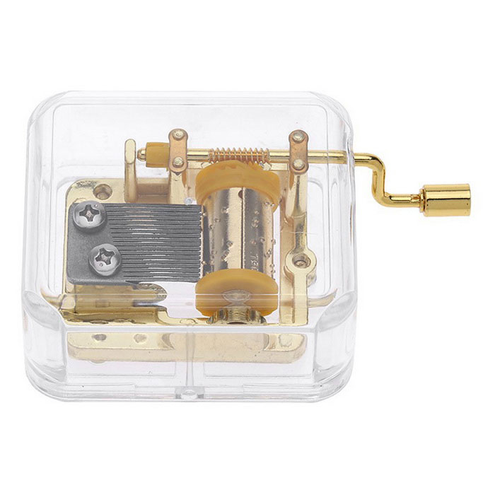 Unique Musical Box Acrylic Hand Crank Movement Melody Music Box - GoldInstruments Parts<br>Form ColorGolden + TransparentMaterialAcrylic + metalQuantity1 DX.PCM.Model.AttributeModel.UnitShade Of ColorGoldCompatible ModelsN/AOther FeaturesItem Name: Hand crank acrylic music box<br>Material: Acryl and metal<br>Melody: Castle in the Sky<br>Shape: Cubic<br>Rhythm: 18 notesPacking List1 * Music box<br>
