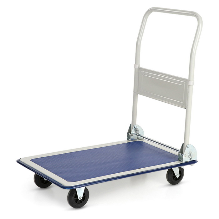 Heavy Steel Folding Trolley - White + Blue (150kg Load)Lifestyle Gadgets<br>Form  ColorWhite + BlueMaterialSteelQuantity1 DX.PCM.Model.AttributeModel.UnitPacking List1 * Platform Truck1 * Assembling Instruction(English)<br>