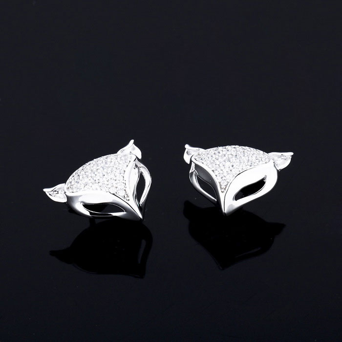 SILVERAGE Zirconia de Plata Esterlina Zirconia Fox Stud Earrings