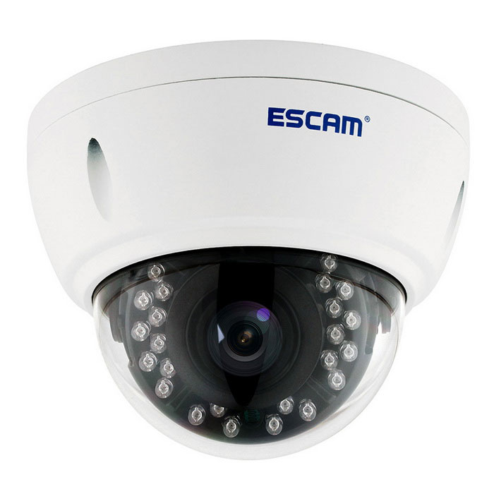 ESCAM Dome QD420 H.265 4.0MP Security CCTV Camera (US Plugs)IP Cameras<br>Form  ColorWhitePower AdapterUS PlugModelQD420MaterialAluminium alloyQuantity1 DX.PCM.Model.AttributeModel.UnitImage SensorCMOSImage Sensor SizeOthers,1/3Pixels4.0MPLens3.6mmViewing AngleOthers,75.5 DX.PCM.Model.AttributeModel.UnitVideo Compressed FormatH.265/H.264Picture Resolution2592*1520Frame Rate18Night VisionYesIR-LED Quantity24Night Vision Distance15 DX.PCM.Model.AttributeModel.UnitWireless / WiFi802.11 b / g / nNetwork ProtocolOthers,TCP/IP, UDP, RTP , RTSP , RTCP , HTTP , DNS , DDNS , DHCP , FTP , NTP , PPPOE , SMTP , UPNPSupported SystemsWindows 2000,2003,XP,7Supported BrowserIE 6.0 and above,Google Chrome,OperaSIM Card SlotNoOnline Visitor10IP ModeStaticMobile Phone PlatformAndroid,iOSSmart AlarmMotion detectingFree DDNSYesIR-CUTYesBuilt-in Memory / RAMNoWater-proofIP66Rate Voltage12VRated Current1 DX.PCM.Model.AttributeModel.UnitIntercom FunctionNoOther FeaturesCE FCC RoHSForm  ColorWhitePower AdapterUS PlugPacking List1 * IP camera 1 * English manual 1 *  Pack of screws 1 * Tail cable (46cm)1 * Rain hat<br>