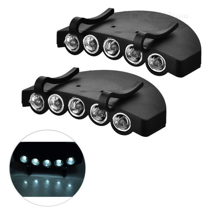 Outdoor Fishing 5-LED Cold White Clip-on Head Lights - Black (2 PCS)