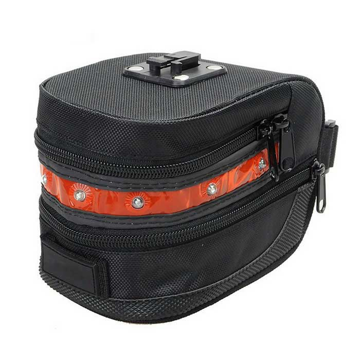 CARKING Bike Saddle Bag w/ Red LED Warning Light - Black + Red (2L)Bike Bags<br>Form  ColorBlack + RedQuantity1 DX.PCM.Model.AttributeModel.UnitMaterialNylonTypeSaddle BagsCapacity2 DX.PCM.Model.AttributeModel.UnitWaterproofYesBest UseTriathlonOther FeaturesWaterproof grade: IP65Packing List1 * Bike Seat Bag2 * Plastic Cleat 3 * Screws<br>