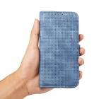 Mesh Protective PC + PU Wallet Cover Case for IPHONE 7 - Blue