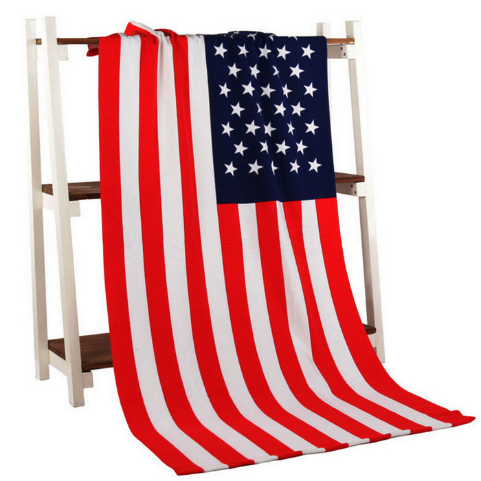Europe 3D Fiber Reactive Printed American Flag Beach Towel Bath TowelOther Sports Gadgets<br>Form  ColorRed + MulticoloredSizeOthersQuantity1 DX.PCM.Model.AttributeModel.UnitMaterialfiberPacking List1 * Beach Towel<br>