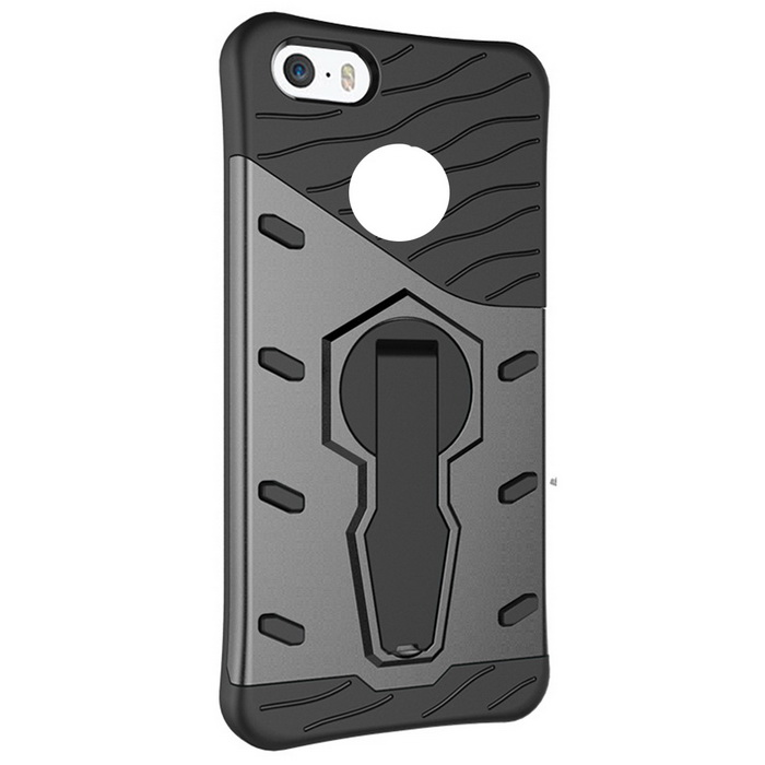 TPU + PC Back Cover with Holder Stand Case for IPHONE 7 - Black + Grey