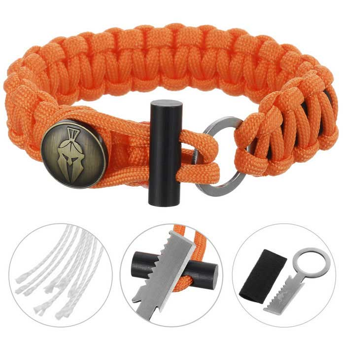 FURA Survival Emerency Bracelet w/ Fire Starter - OrangeFirst Aid<br>Form  ColorOrangeQuantity1 DX.PCM.Model.AttributeModel.UnitMaterialParachute cord + stainless steel + magnesium rodBest UseFamily &amp; car camping,Mountaineering,Travel,CyclingKnife Blade TypeFlat &amp; Tooth edgeBlade Length2.5 DX.PCM.Model.AttributeModel.UnitHandle Length2.3 DX.PCM.Model.AttributeModel.UnitTypeKnives,Multitools,Paracords,Others,Fire StarterPacking List1 * Paracord bracelet<br>