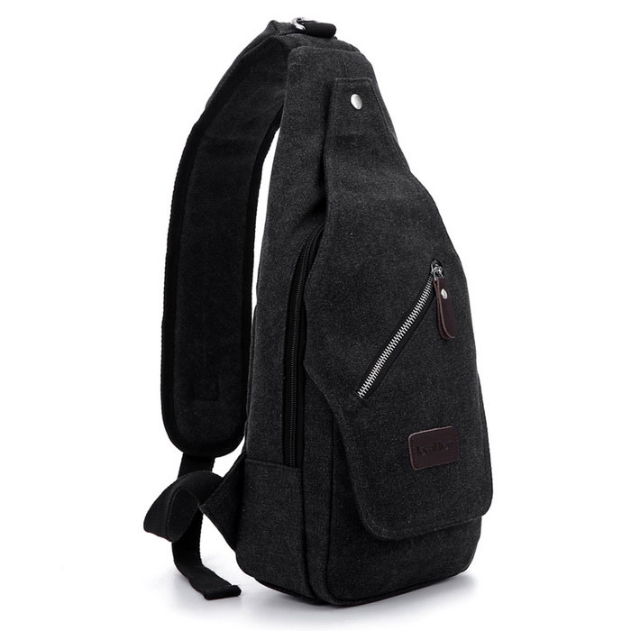 Buy LOCAL LION 1321 Classic Fashion Canvas Chest Bag - Black (6.5L) with Litecoins with Free Shipping on Gipsybee.com