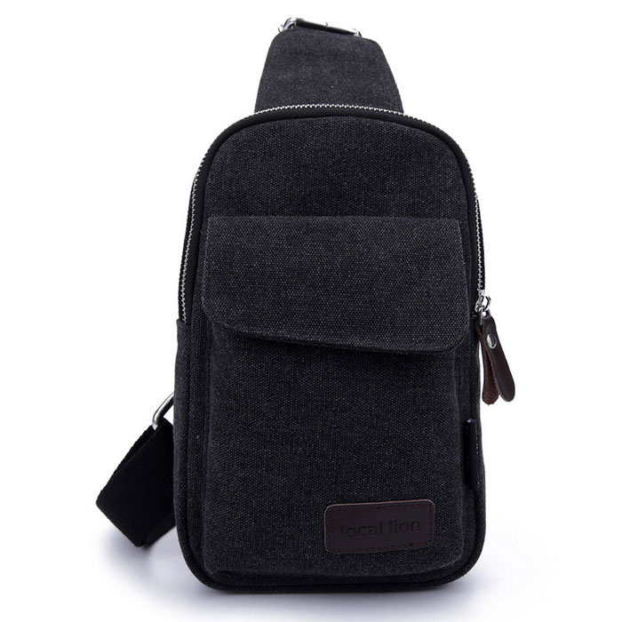 LOCAL LION 1319 Classic Fashion Canvas Chest Bag - Black (2.5L) for sale in Bitcoin, Litecoin, Ethereum, Bitcoin Cash with the best price and Free Shipping on Gipsybee.com