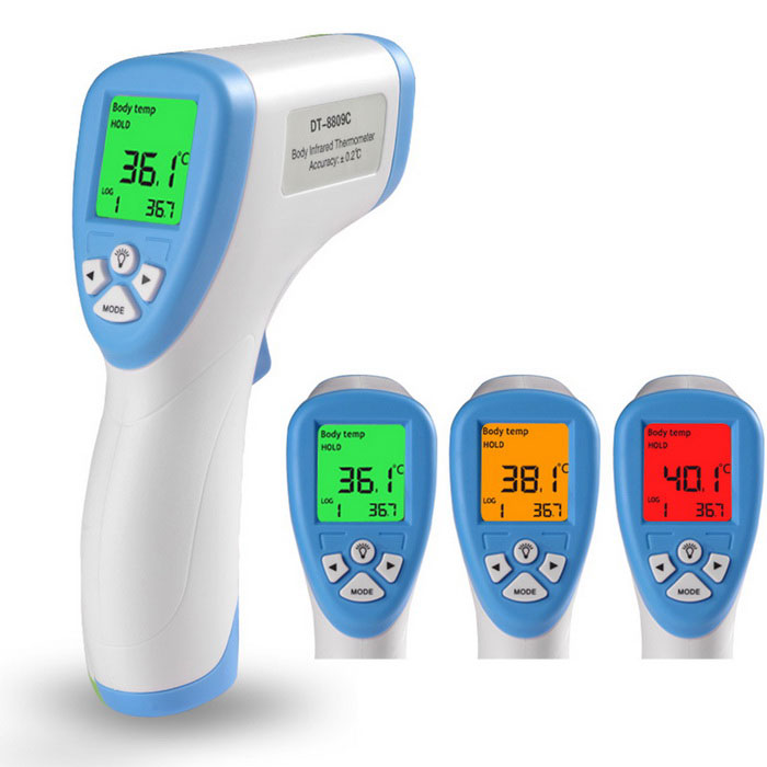 Buy Human Body Non-Contact Infrared Thermometer - White + Blue with Litecoins with Free Shipping on Gipsybee.com