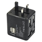 Dual USB AC 100~240V Global Adaptor / Universal Travel Charger - Black