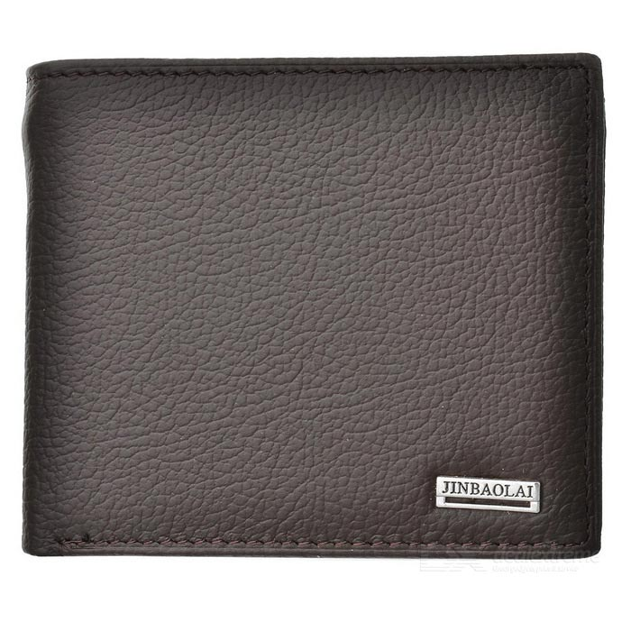 Buy JINBAOLAI Folded Leather Wallet w/ Coin Pocket for Men - Dark Coffee with Litecoins with Free Shipping on Gipsybee.com