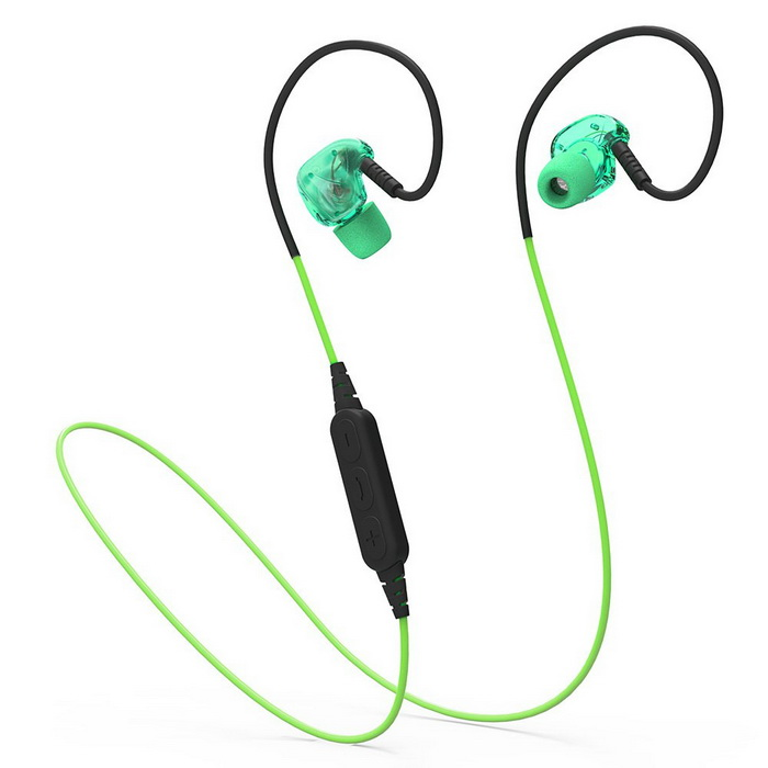 Bluetooth IPX5 Waterproof Stereo Sport Headset With Mic - GreenHeadphones<br>Form  ColorBlack + GreenModelBX240MaterialABS+PCQuantity1 DX.PCM.Model.AttributeModel.UnitShade Of ColorGreenEar CouplingEar-hookBluetooth VersionBluetooth V4.1,??V4.1Operating Range10mRadio TunerNoMicrophoneYesSupports MusicYesConnects Two Phones SimultaneouslyYesApplicable ProductsUniversalBuilt-in Battery Capacity 70 DX.PCM.Model.AttributeModel.UnitBattery TypeLi-polymer batteryTalk Time4.5 DX.PCM.Model.AttributeModel.UnitMusic Play Time5-6 DX.PCM.Model.AttributeModel.UnitStandby Time175 DX.PCM.Model.AttributeModel.UnitPower AdapterUSBPower Supply5V 0.5AOther FeaturesFunction: Answering Phone,Bluetooth,Microphone,Noise Cancelling,Song Switching,Voice control,Waterproof <br>Headset type: Dynamic<br>Connectivity: Wireless<br>Connecting interface: Micro USB<br>Application: Mobile phone,Sport<br>Plug Type: Micro USB<br>Driver unit: 10mm<br>Sound channel: Two-channel (stereo)<br>Talk time:  4.5 hours<br>Music Time: 5-6 hours<br>Standby time: up to 175 hours<br>Charging Time (h): less than 2 hours <br>Bluetooth version: V4.1<br>Powlev: CLASS II<br>Bluetooth distance: W/O obstacles 10m<br>Bluetooth protocol: A2DP,AVRCP,HFP,HSP,SPP<br>Battery Capacity(mAh): 70BrandPLEXTONEConnectionBluetoothHeadphone StyleBilateral,In-Ear,Ear-hookWaterproof LevelIPX5Headphone FeaturesPhone Control,Noise-Canceling,Volume Control,With Microphone,Portable,For Sports &amp; ExerciseSupport Memory CardNoSupport Apt-XNoPacking List1 x Waterproof Bluetooth headphone1 x USB Charging Cable (5V 0.5A) 2 x Pairs of Ear Buds with Different Size1 x English User Manual1 x Clip1 x Pouch<br>