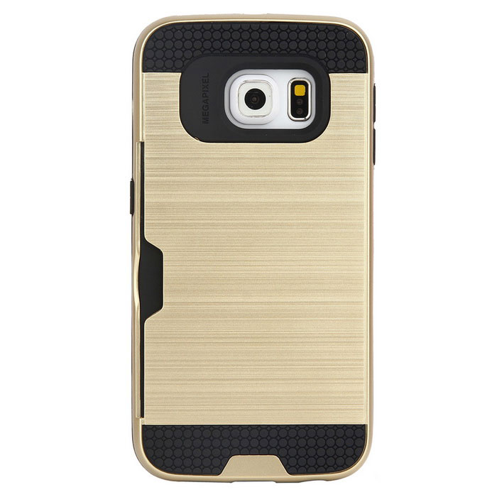 Wiredrawing TPU Phone Back Case for Samsung Galaxy S6 EdgeTPU Cases<br>Form ColorBlack + GoldQuantity1 DX.PCM.Model.AttributeModel.UnitMaterialTPUShade Of ColorBlackCompatible ModelsSamsung Galaxy S6 EDGEDesignMixed Color,Card SlotStyleBack CasesPacking List1 * Phone case<br>