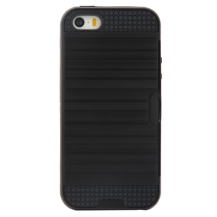 Wiredrawing TPU Phone Back Case w/ Card Slots for IPHONE 5/5S/SETPU Cases<br>Form  ColorBlackModel5/5S/SEQuantity1 DX.PCM.Model.AttributeModel.UnitMaterialTPUCompatible ModelsIPHONE SE,IPHONE 5S,IPHONE 5DesignCard SlotStyleBack CasesPacking List1 * Back case<br>