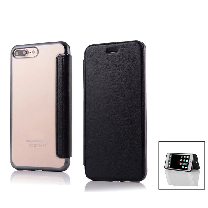 Flip Open PU Leather Case w/ Card Slots for IPHONE 7 Plus - BlackLeather Cases<br>Form  ColorBlackQuantity1 DX.PCM.Model.AttributeModel.UnitMaterialPU + TPUCompatible ModelsiPhone 7 PLUSStyleFlip OpenDesignSolid Color,Transparent,With Stand,Card SlotAuto Wake-up / SleepNoPacking List1 * Case<br>