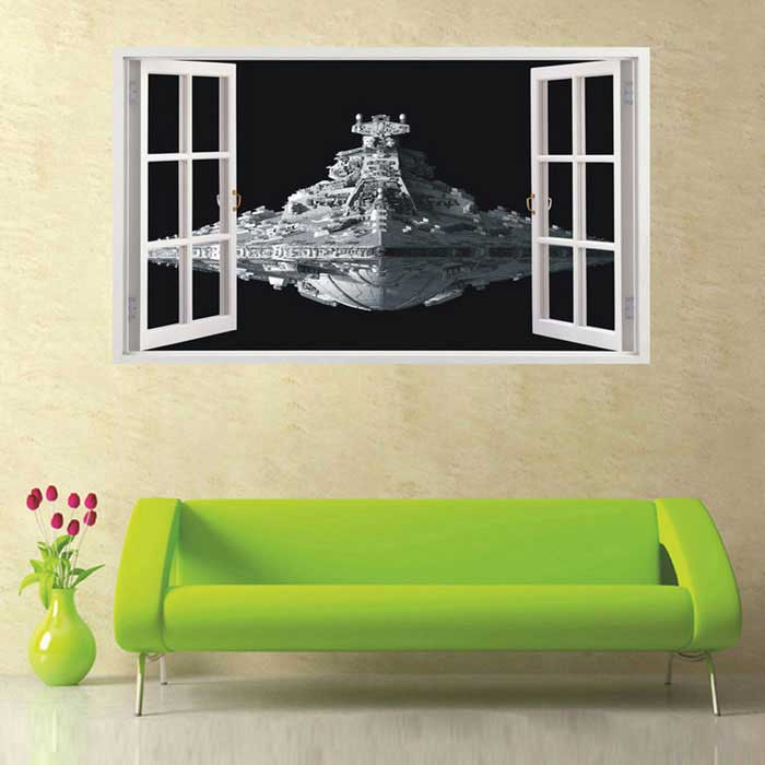 Removable DIY 3D Ship Decorated Wall Stickers - Black + Silver