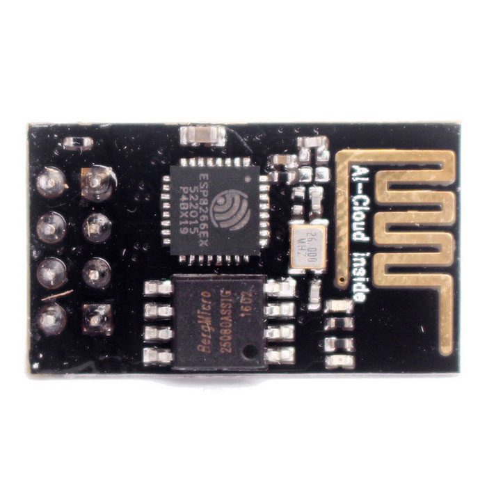 ESP-01 ESP8266 Serial WIFI Wireless ModuleTransmitters &amp; Receivers Module<br>Form  ColorBlackModelESP-01Quantity1 DX.PCM.Model.AttributeModel.UnitMaterialPCB + electronic componentsFrequency2.4 GHzWorking Voltage   DC 3.0~3.6 DX.PCM.Model.AttributeModel.UnitEffective Range400mEnglish Manual / SpecYesDownload Link   http://yunpan.taobao.com/s/eWYmyXdQHyPacking List1 * Module<br>