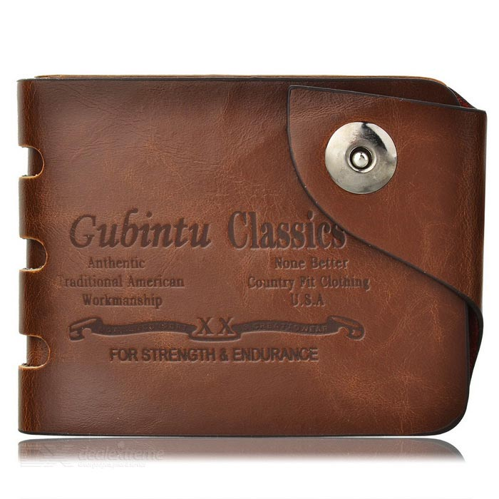 GUBINTU HF236 Retro Mens Leather Wallet - CoffeeWallets and Purses<br>Form ColorCoffeeModelHF236Quantity1 DX.PCM.Model.AttributeModel.UnitShade Of ColorBrownMaterialLeatherGenderMenSuitable forAdultsOpeningOthers,Magnetic snap buttonStyleCasualWallet Dimensions10.8cm*8.8cm*2cmPacking List1 * Wallet<br>