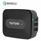 TUTUO 25W 3-Port USB Travel Quick Charger Universal Charger - Black