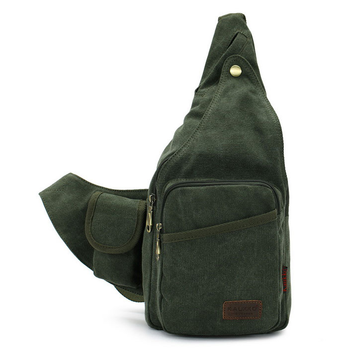 KAUKKO FJ51 Man's Vogue Canvas Sling Chest Pack Bag - Army Green