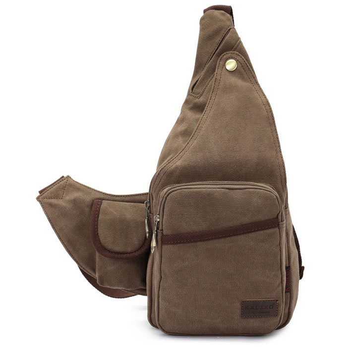 Buy KAUKKO FJ51 Man's Vogue Canvas Sling Chest Pack Bag - Khaki with Litecoins with Free Shipping on Gipsybee.com