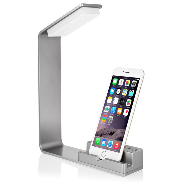 Aluminium Alloy Double USB Mobile Computer Charging LampMounts and Stands<br>Form  ColorSilver GreyModelICH-17BSC15MaterialMetalQuantity1 DX.PCM.Model.AttributeModel.UnitCompatible SizeOthers,Mount TypeDesktopOther FeaturesTotal power 15W, 5V, 3A stand-up intelligent identification (Max)<br>3.5W LED lighting (cold white), through the button control leds on or off; With over-current, short protection.Packing List1 * Support desk lamp1 * Power cord (120cm)1 * instructions<br>
