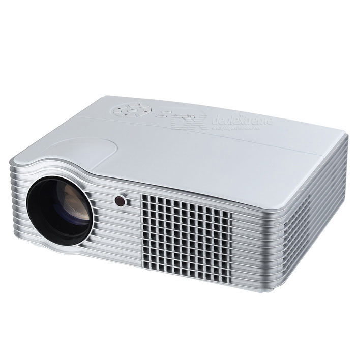 180W 200 LED HD Home Projector w/ VGA / AV / HDMI / USB - WhiteProjectors<br>Form  ColorWhiteEU Plug) BrandOthers,N/AModelLED-05Quantity1 DX.PCM.Model.AttributeModel.UnitMaterialABSShade Of ColorWhiteOperating SystemNoTypeLCDChipsetMSTARBrightness2000~2999 lumensBrightness2200 DX.PCM.Model.AttributeModel.UnitMenu LanguageEnglish,French,German,Italian,Spanish,Portuguese,Russian,Vietnamese,Polish,Greek,Danish,Norwegian,Japanese,Korean,Hungarian,Slovak,Czech,Romanian,Swedish,Finnish,Chinese Simplified,Chinese Traditional,SerbianBuilt-in SpeakersYesLife Span22000 DX.PCM.Model.AttributeModel.UnitEmitter BINLEDLens EffectsTelescopeDisplay Size50~200Aspect RatioOthers,169/43Contrast Ratio10001Pixels1.677MPNative Resolution1280 x 800Maximum Resolution2KMaximum Resolution1920 x 1080Throw Distance2~3.5mBuilt-in Memory / RAMNoStorageNoAudio FormatsMP3,AC3,Others,MPEG1, MPEG2Video FormatsRM,RMVB,AVI,MOV,MP4,FLV,VOB,DAT,MPEG,H.264,MPEG2,MPEG4Picture FormatsJPEG,BMP,PNG,GIF,TIFFInput ConnectorsAV,VGA,USB,HDMIInput Connectors1 x VGA, 1 x video, 2 x audio, 1 x antenna, 2 x HDMI, 2 x USBOutput ConnectorsAudioPower Consumption80W &amp; OverPower Consumption180WPower Supply100~240VPower AdapterEU PlugCertificationCE, FCC, RoHSPacking List1 * Projector1 * Remote control (2 x AAA, not included)1 * Power cable (120+/-2cm)1 * Audio cable (130+/-2cm)1 * VGA cable (155+/-2cm)1 * Chinese / English user manual<br>
