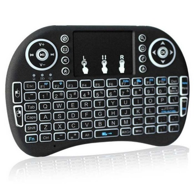 i8 Backlit Mini Wireless Keyboard Touchpad - Black