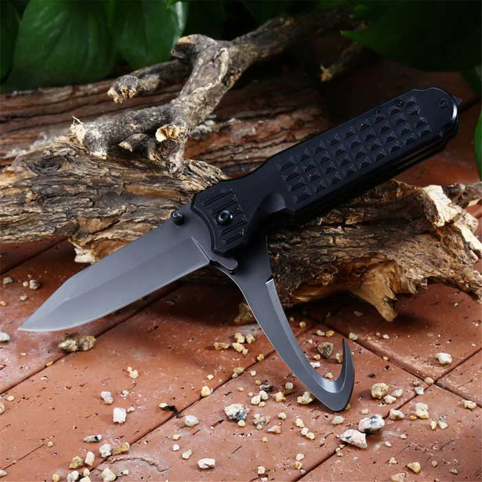 Multifunctional Folding Knives With Cutting Knife - BlackKnives<br>Form  ColorBlackModelPA43Quantity1 DX.PCM.Model.AttributeModel.UnitMaterial3cr13Mov stainless steelBest UseFamily &amp; car camping,Mountaineering,Travel,CyclingHandle Length11.5 DX.PCM.Model.AttributeModel.UnitLength20.3 DX.PCM.Model.AttributeModel.UnitTypeKnivesPacking List1 * Multifunctional knife<br>