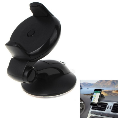 Car Suction-cup Circular 3.5-5.0 inch Mobile Phone Holder - Black