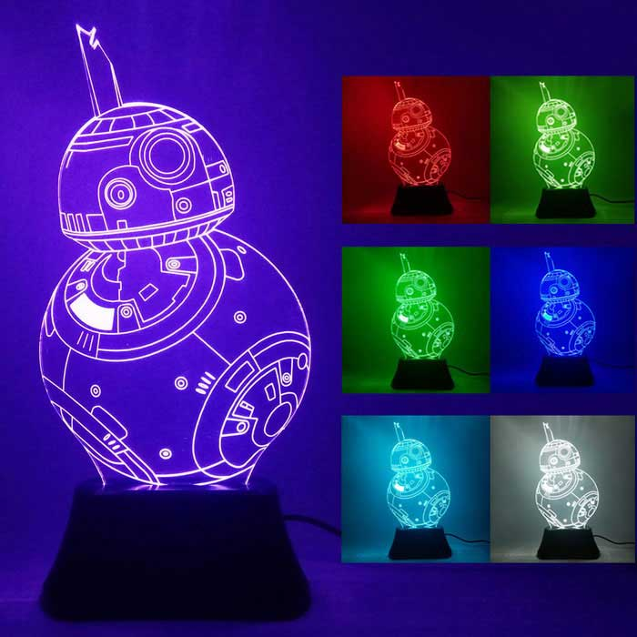 3D Stereoscopic Star Wars Robot LED Night Light Colorful Gradient LampLED Nightlights<br>Form  ColorWhite + TransparentMaterialAcrylicQuantity1 DX.PCM.Model.AttributeModel.UnitPowerOthers,0.5WRated VoltageOthers,5 DX.PCM.Model.AttributeModel.UnitConnector TypeOthersColor BINMulti-colorColor Temperature3000KDimmableYesColor Temperature2700-3000KInstallation TypeInsertedPacking List1 * 7 colour lamp1 * USB charging line (length: 1.2 M)<br>